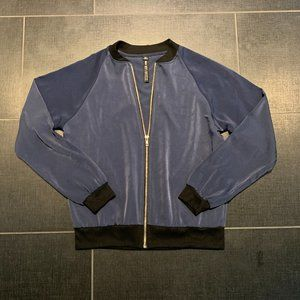 Design Lab Lord & Taylor Unlined Satin Navy Bomber